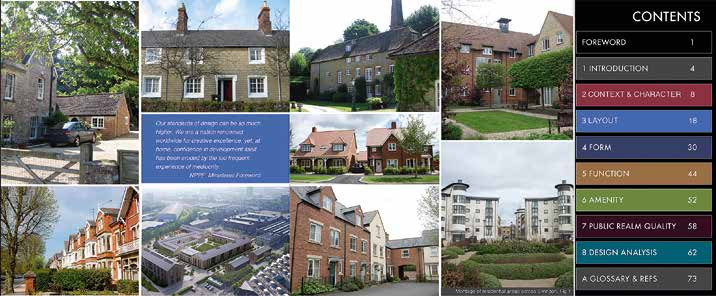Contents with photo montage of residential developments across Swindon