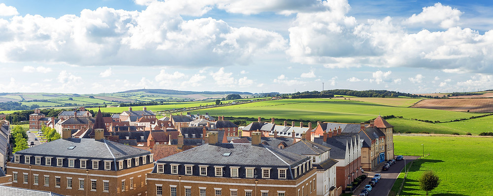 C G Fry & Son Builders and Developers photograph of Poundbury in Dorset sky line for a Design Review Panel Blog Article