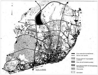 Fig. 1 – Telheiras (black hatch) in the context of Lisbon – extract from the 1967's Local Plan