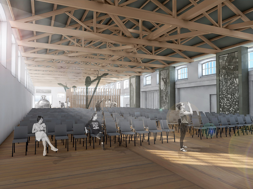 Proposed view of the interior of the Llanelli Railway Goods Shed by Davies Sutton Architects.  The scale of the space affords a unique flexibility - Design Review Panel Blog Article Image