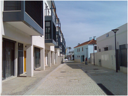 Fig 5 – New builds on the left hand side, renovated historic buildings on the right hand side