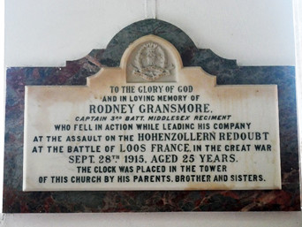 A plaque in St Peter & St Paul's Church, Ermington, records that the clock was placed on the tower in memory of Captain Rodney Gransmore