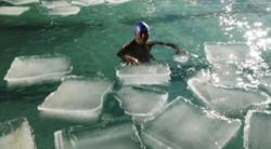 freezing ice swimming pool