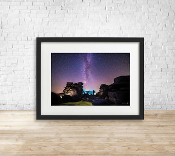 Fine art astrophotography print of Milky Way over Combestone Rocks, Dartmoor National Park - by Arthur Cauty