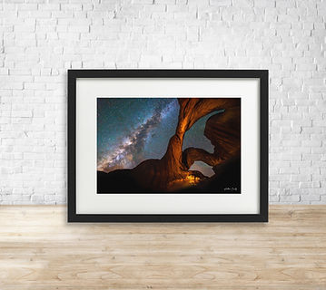 Fine art astrophotography print of Milky Way over Double Arch, Arches National Park - by Arthur Cauty