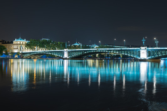 Lights in the Rhone River at Night