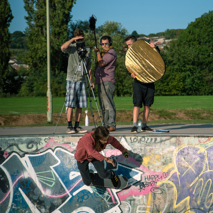 Arthur Cauty behind the camera with mini-crew and skater extraordinaire