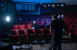 Arthur Cauty filming Double Take with Daryl Hembrough at The Cube Cinema, Bristol.