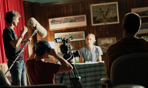 Arthur Cauty & Anthony John Crocker on set of I Live Here
