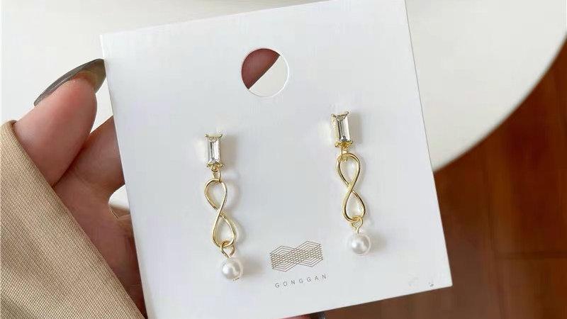 Rhinestone & gold earrings
