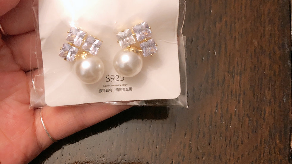 Rhinestone & pearl earrings