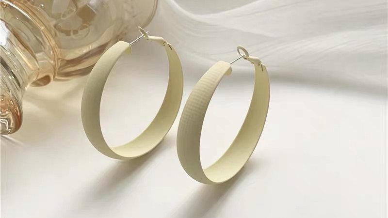 White hoop earrings