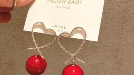 Red ball & rhinestone earrings