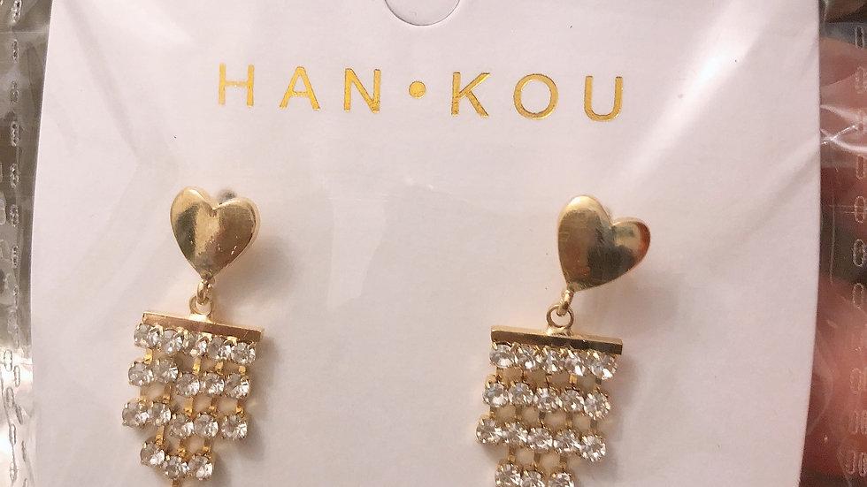 Golf rhinestone tassels earrings