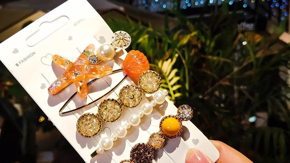 Orange hair pins set