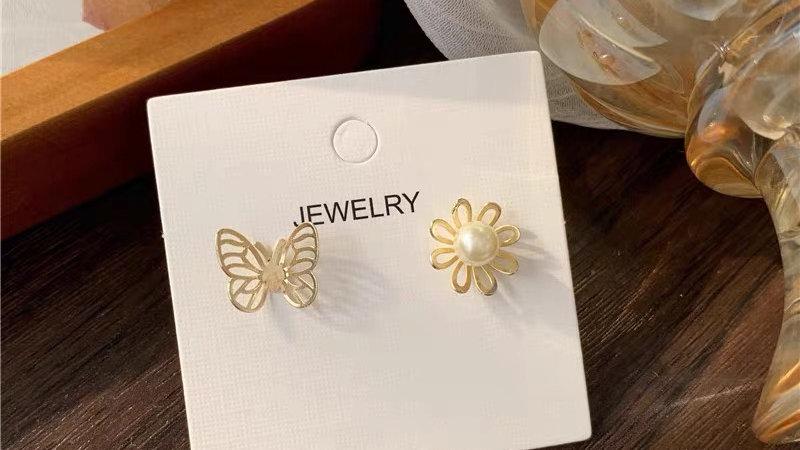 Butterfly & flower asymmetric earrings