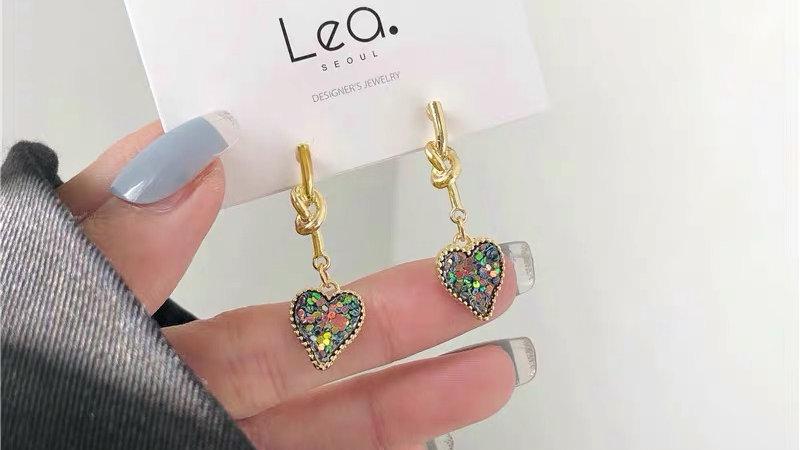 Glitter heart drop earrings