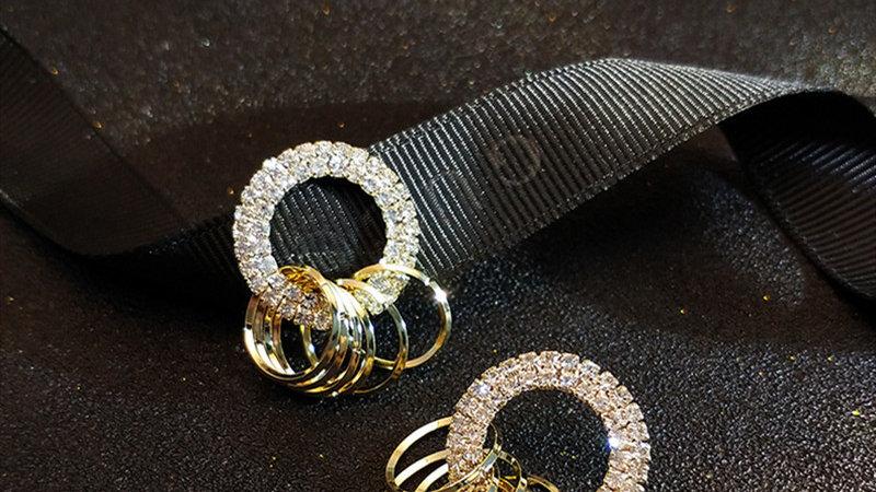 Rhinestone & gold circles Earrings