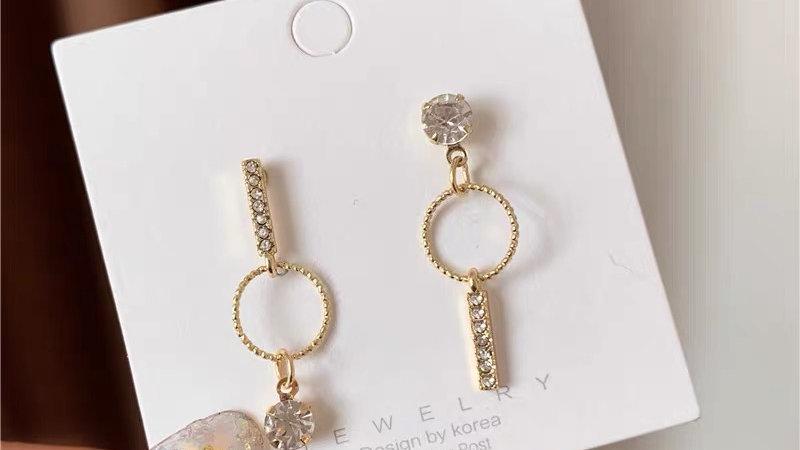 Rhinestone asymmetric earrings
