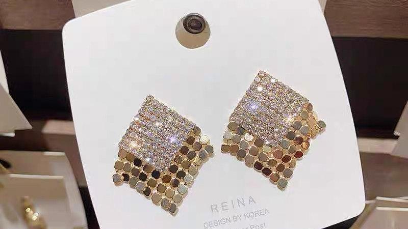 Gold rhinestone tassels earrings