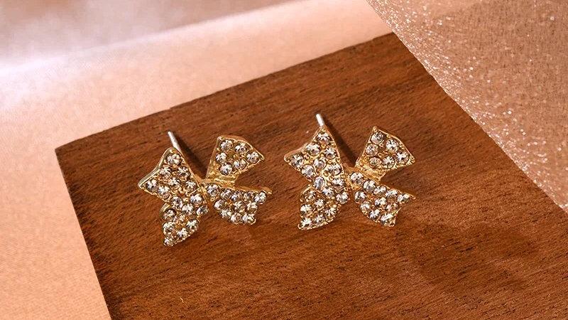 Rhinestone bowknot Earrings