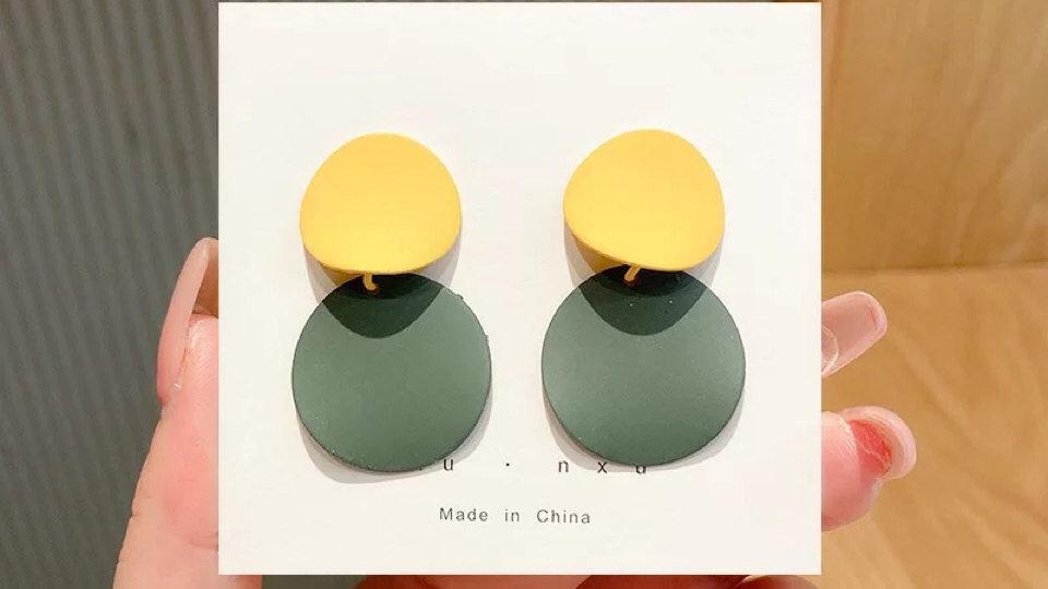 Yellow green earrings