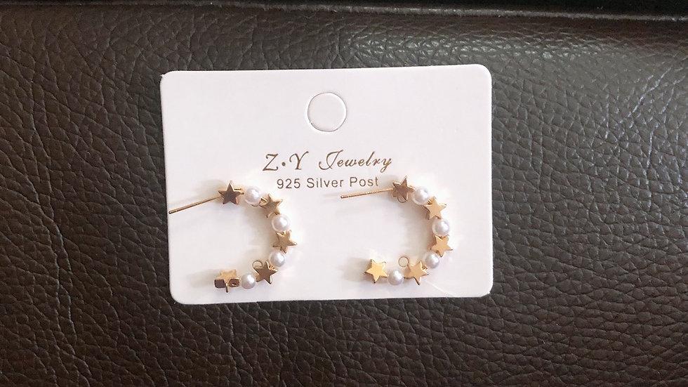Star & pearl hoop earrings