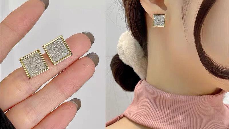 Silver Glitter square earrings