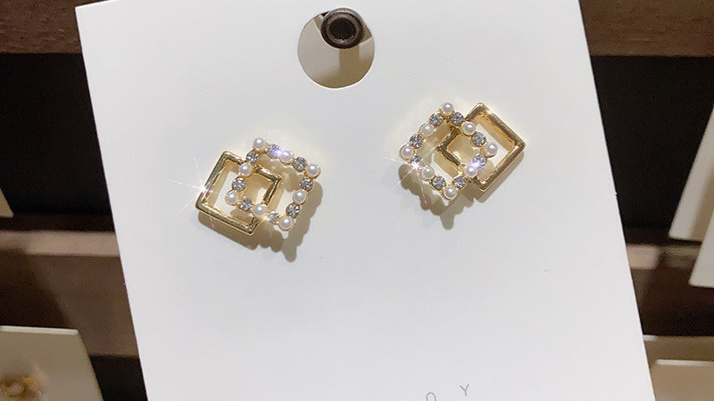 Pearl square Earrings