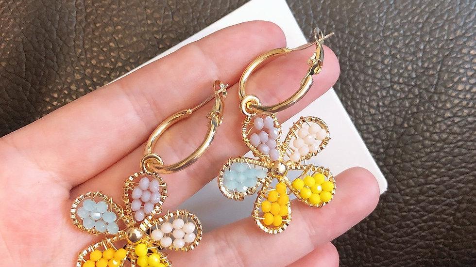 Colourful flower hoop earrings
