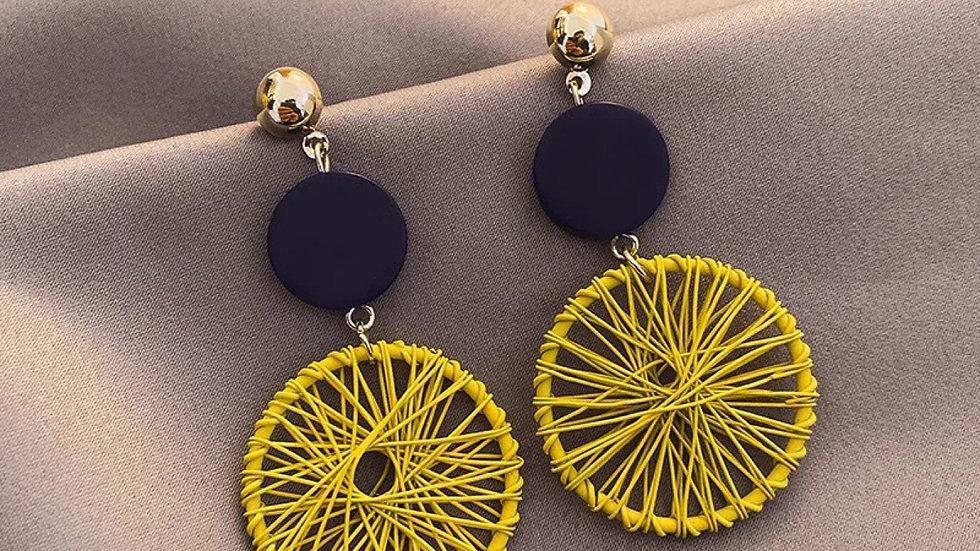 Yellow & black earrings