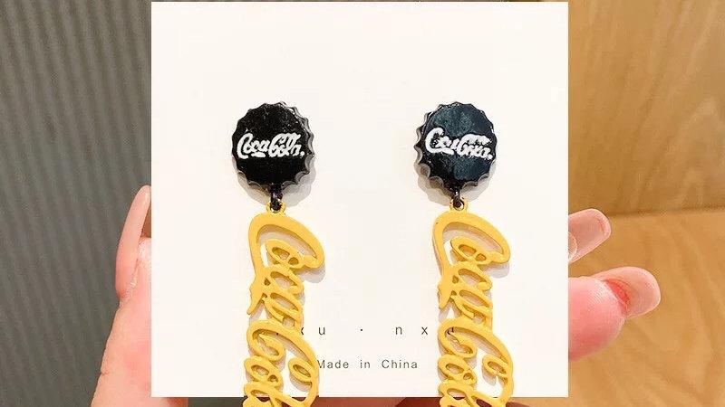 Yellow Coca-Cola drop earrings