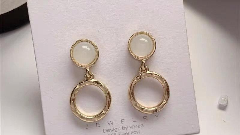 Opal circles earrings