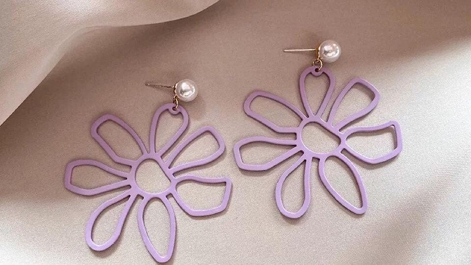 Purple big flower earrings