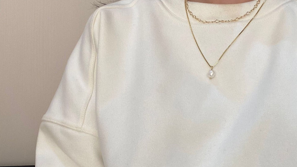 Gold plated & pearl layered necklace