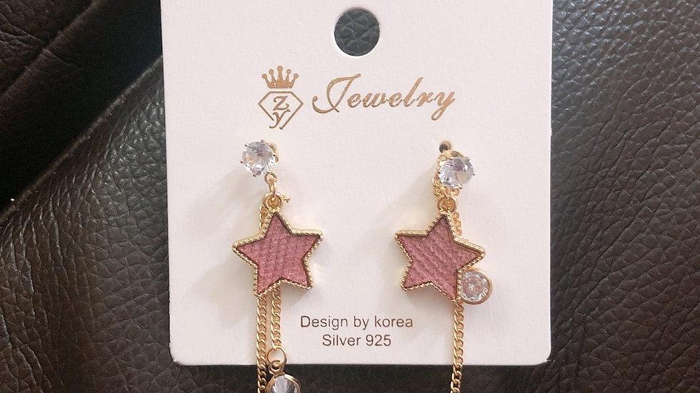 Pink star drop earrings