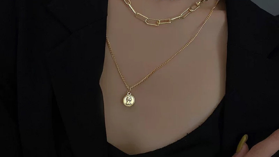 Gold chain & face layered Necklace