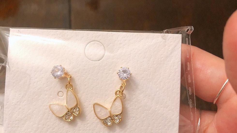 Opal butterfly earrings