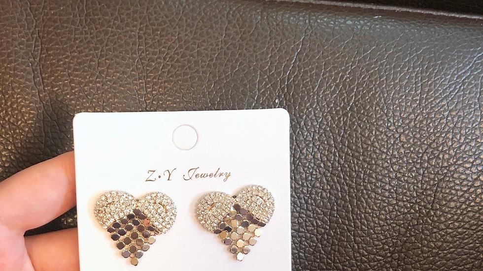 Rhinestone heart gold earrings