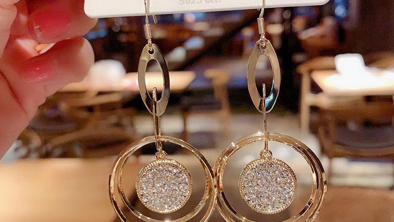 Rhinestone circles Earrings
