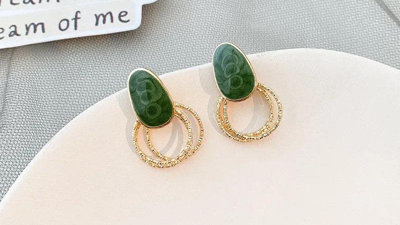 Green & gold circles earringso