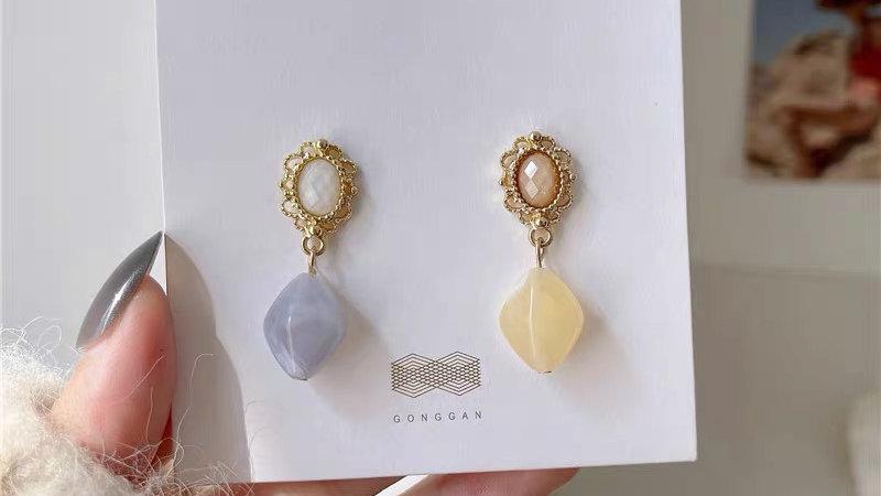 Purple & yellow earrings