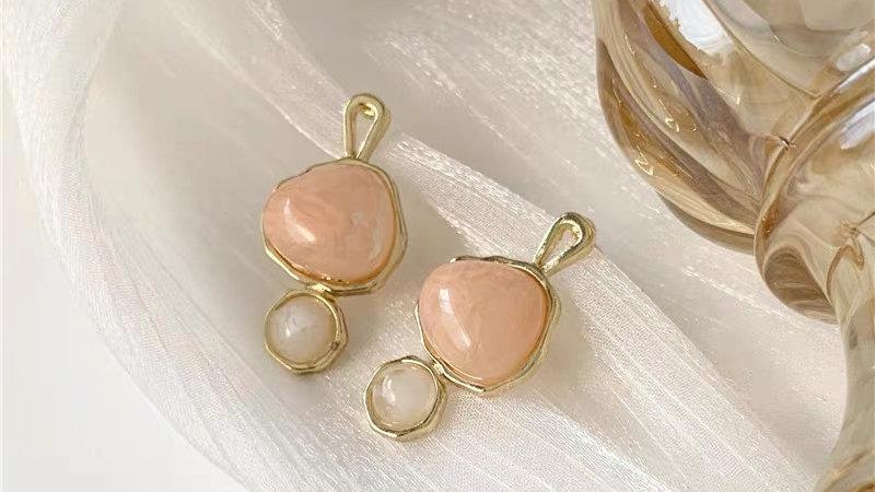 Pink & white gem earrings