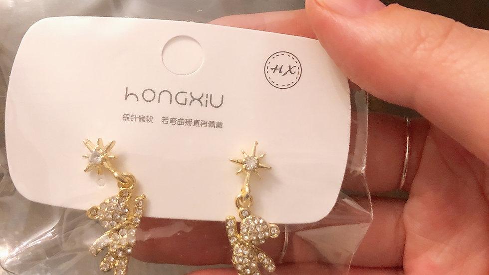 Rhinestone bear earrings