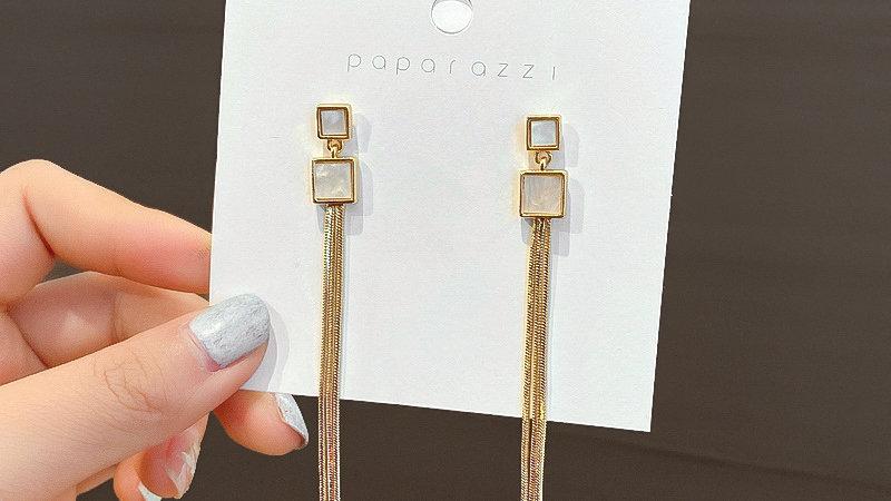 White & gold tassels Drop earrings