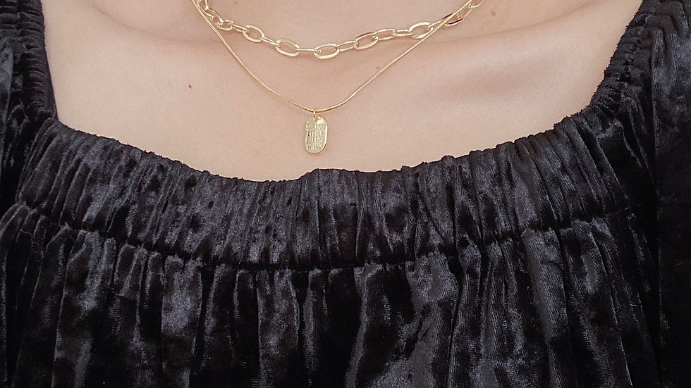 Gold plated chain layered necklace