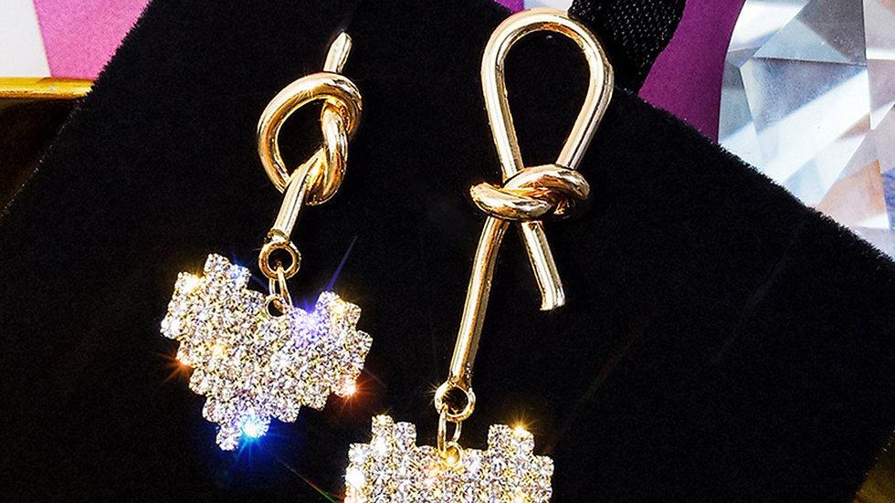 Rhinestone heart asymmetric Earrings