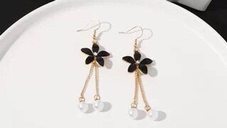 Black flower drop earrings