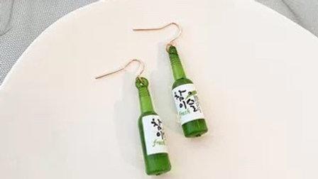 Green bottles earrings