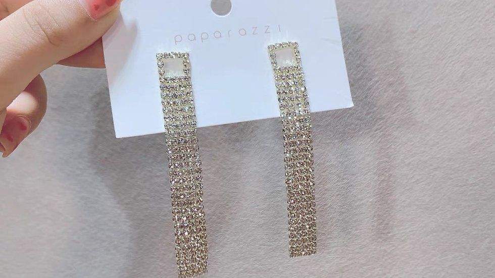 Gold square tassels earrings